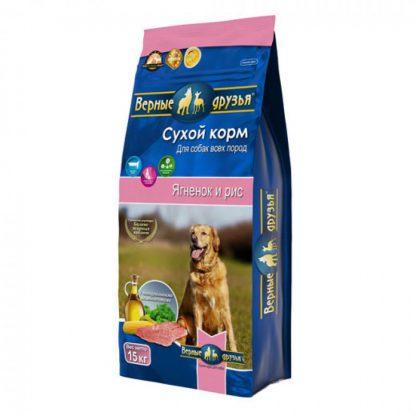 Верные Друзья, сухой корм, для взрослых собак всех пород, гипоаллергенный, ЯГНЕНОК и РИС, 15 кг