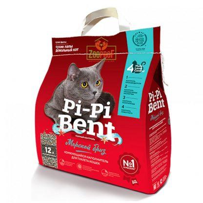 Pi-Pi-Bent (ПИ ПИ БЕНТ), комкующийся наполнитель, Морской бриз, 5 кг*4