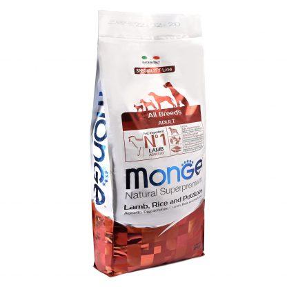 МОНЖ Дог, Speciality, сухой корм, гипоаллергенный, для всех пород собак, Ягненок Рис, 15 кг